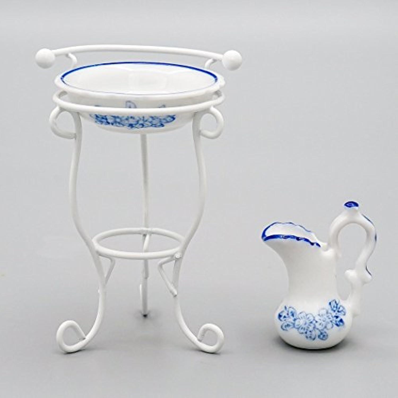 【Odoria ミニチュア雜貨】1/12 3点セット 陶器製 洗面器 ウォーターポット メタル スタンド バスルーム ドールハウス