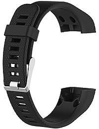 ノーブランド品 時計バンド ストラップ 交換 シリコン材  柔らかい  保護 Vivosmart HR +適用 全5色 - ブラック