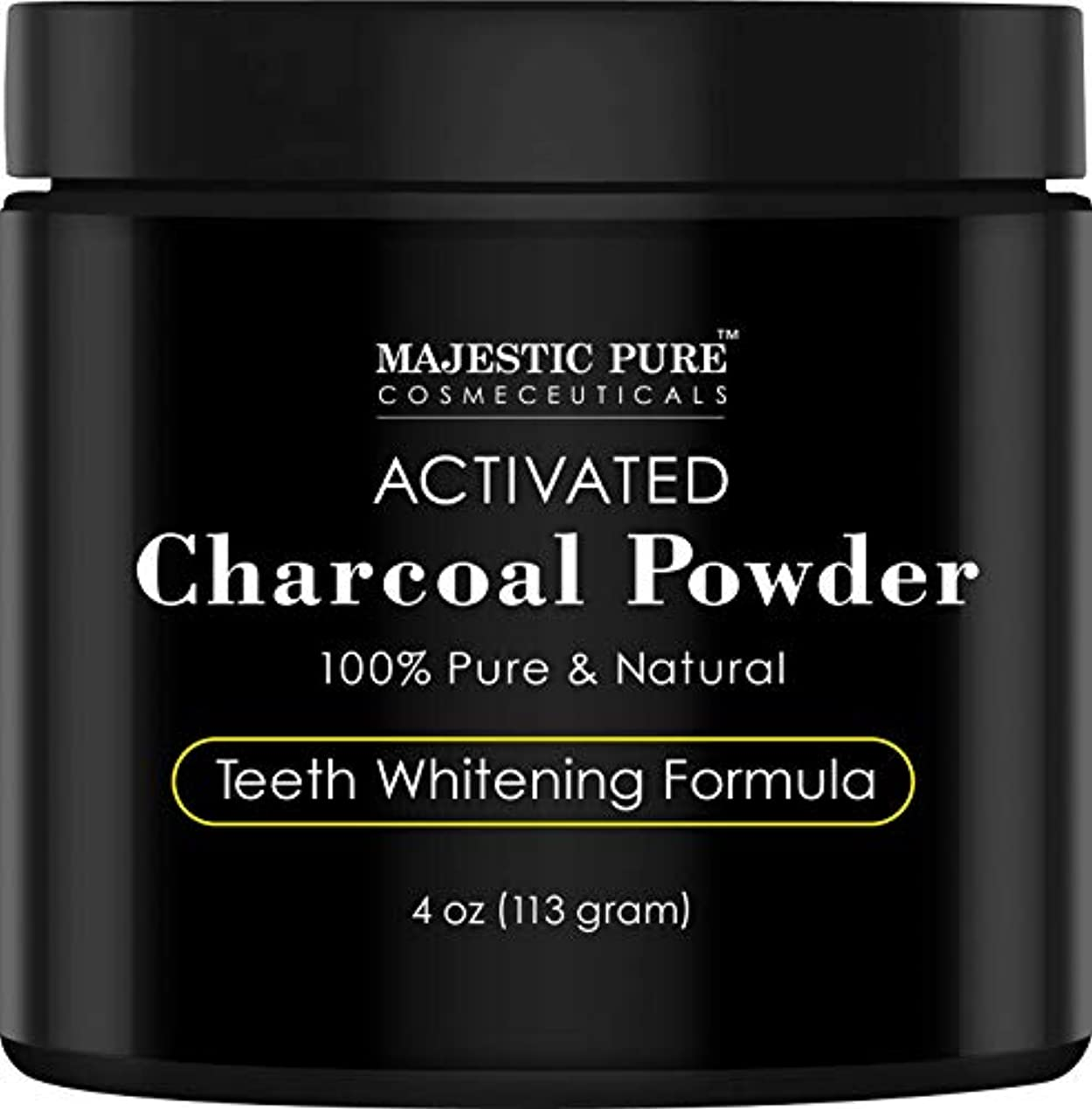 負荷ケーブルカー熱心Majestic Pure Teeth Whitening Activated Charcoal Powder - Natural  歯のホワイトニング ココナッツ チャコールパウダー4 oz (113g)