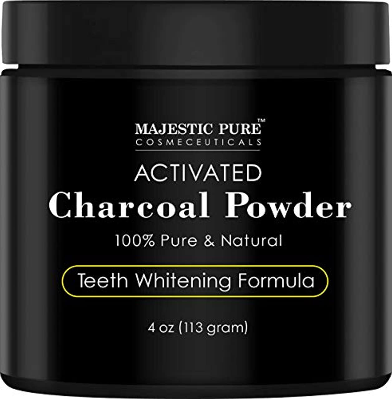 Majestic Pure Teeth Whitening Activated Charcoal Powder - Natural  歯のホワイトニング ココナッツ チャコールパウダー4 oz (113g)