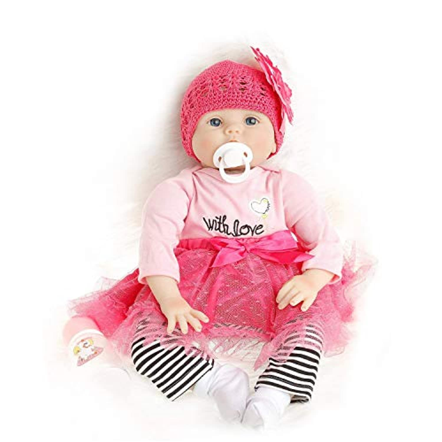 SanyDoll Reborn Baby Doll Soft Silicone 22inch 55cm Magnetic Lovely Lifelike Cute Lovely Baby Red Christmas gift set