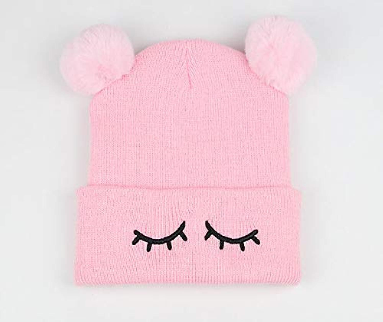 DBMART ポンポン付き ベビーニット帽 キッズ ニット帽 ニットキャップ 刺繍 手編み 可愛い フェイクファー エコファー ボア ニットキャップ 子供 男の子 女の子 帽子 あったか くま 耳 防寒対策 (ピンク)