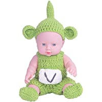 KIDDING 30cmハンドメイドセーター シミュレーション赤ちゃん 入浴人形 ソフトベビー 幼児教育 劇場 子供たち プリンセス 若い女の子 おもちゃ人形 (緑のスカートのセーターの頭の大げさな人形)