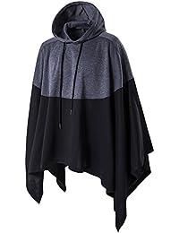 (ケイミ)KEIMI マント風コート ポンチョ風コート マントパーカー ビッグシルエット ジャケット ゆったり コート ロングパーカー 黒 マント パーカー (XXXL)
