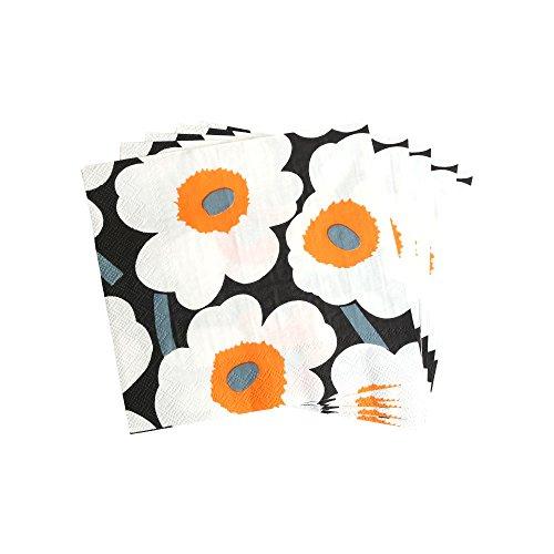 marimekko マリメッコ ペーパーナプキン 5枚入 UNIKKO 33×33cm ホワイト×オレンジ MARIM42-5