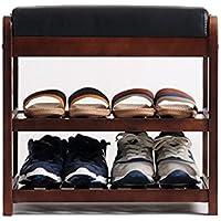 YANFEI シンプルなバーチ靴ベンチシンプルな玄関現代PUパッドダブルシューズベンチ (サイズ さいず : 500*340*480MM)