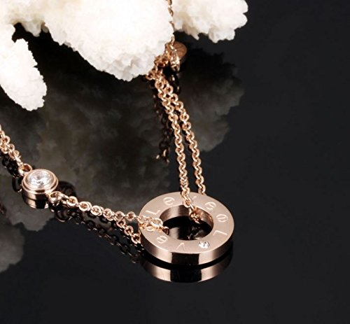 Love リング クリスタル ブレスレット 兼 アンクレット 18金ピンクゴールド仕上げ ステンレス ジュエリー レディース Pink Gold 腕輪 足輪