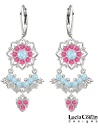 Unbelievable Earrings Crafted in .925 Sterling Silver by Lucia Costin with Leaves and 8 Petal Flowers, Adorned...