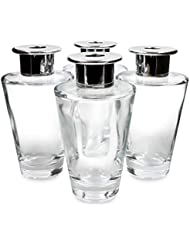 Feel Fragrance リードディフューザー用 リードディフューザーボトル 容器 透明 蓋付き 4本セット (200MLコニカル形)