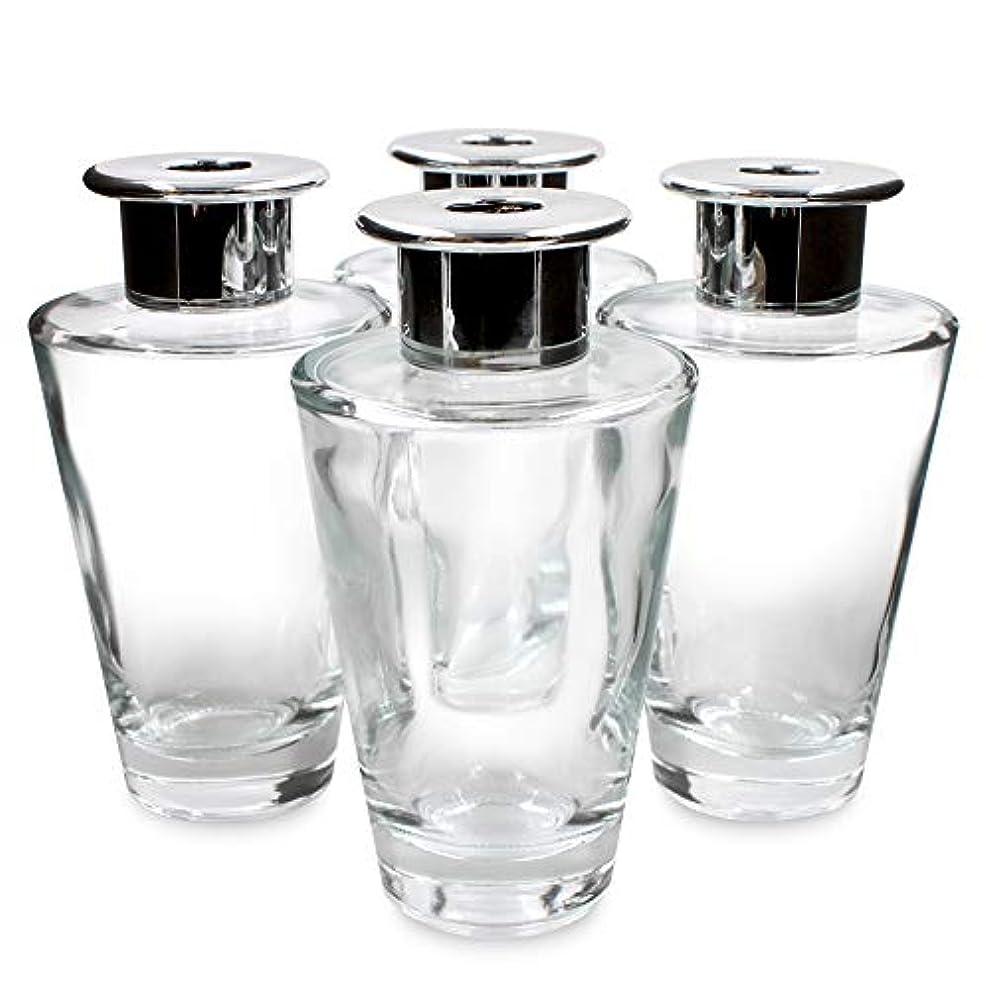 重量欠陥マントFeel Fragrance リードディフューザー用 リードディフューザーボトル 容器 透明 蓋付き 4本セット (200MLコニカル形)