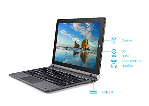 Mini Touch Screen Windows 2 in 1 Laptop Computer Tablet PC, 10.1