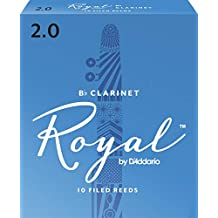 D'Addario Woodwinds Royal Bb Clarinet Reeds, Strength 2.0, 10-pack - RCB1020 (Renewed)