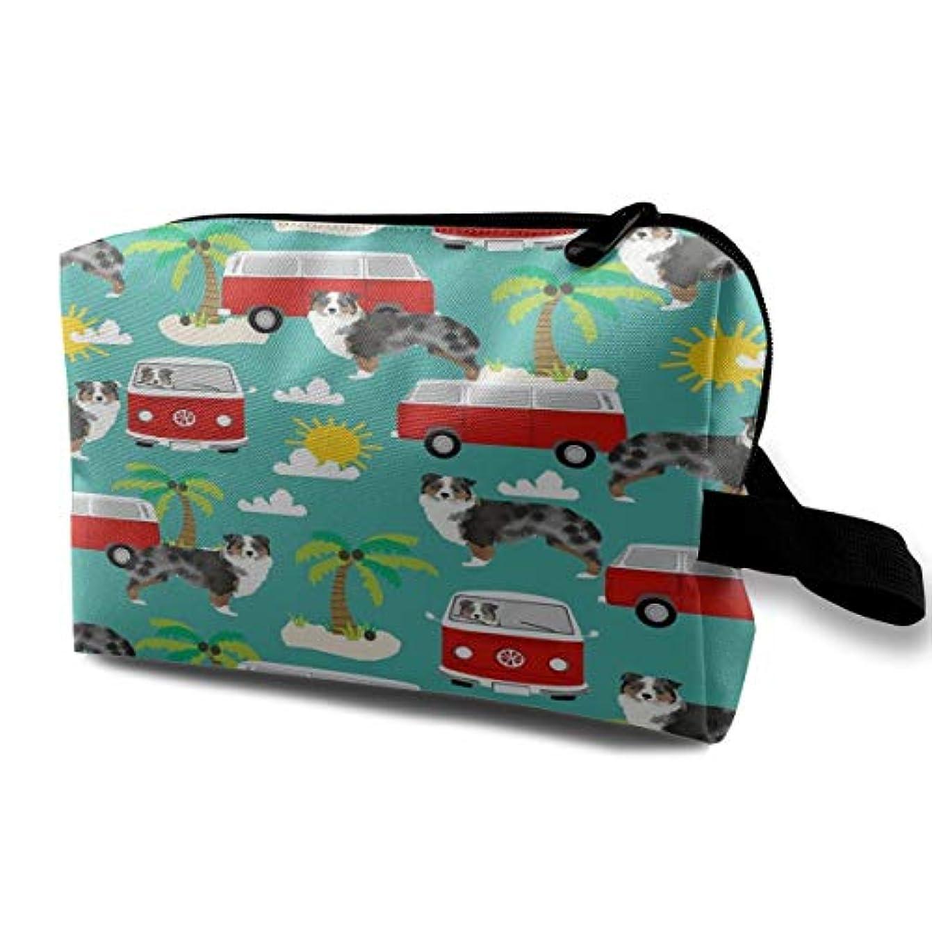 どこか私人気Australian Shepherd Beach Mini Bus 収納ポーチ 化粧ポーチ 大容量 軽量 耐久性 ハンドル付持ち運び便利。入れ 自宅?出張?旅行?アウトドア撮影などに対応。メンズ レディース トラベルグッズ