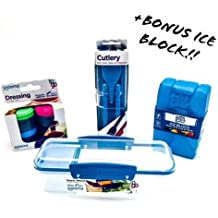 Sistema Bundle Blue - Includes 4 Items: Sistema Cutlery, Sistema Snack Attack, Sistema Dressing + Bonus Coordinating Color Ice Box (Blue)