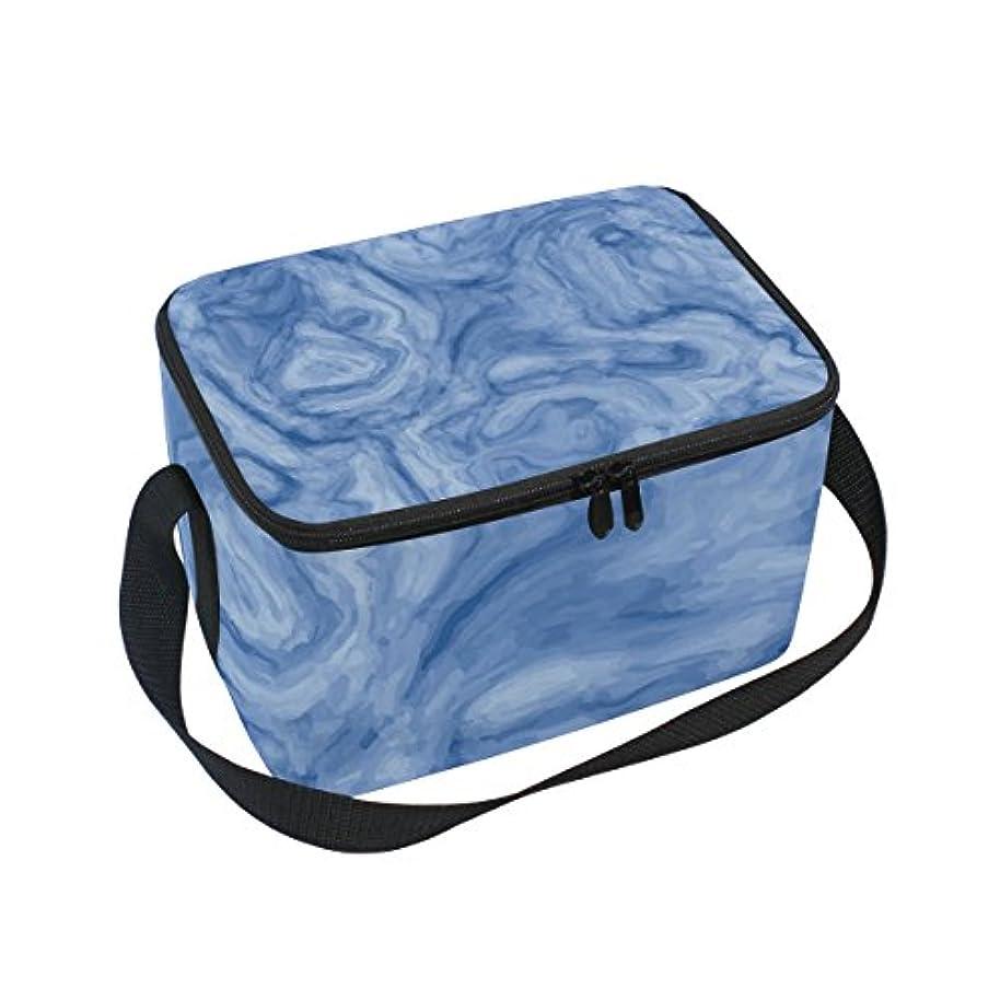 原理水平カートンクーラーバッグ クーラーボックス ソフトクーラ 冷蔵ボックス キャンプ用品 インク 抽象的 ブルー 保冷保温 大容量 肩掛け お花見 アウトドア