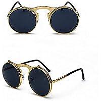 KATCOCO Vintage Round Flip Up Sunglasses for Men Women John Lennon Style Circle Sunglasses