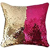 Reversible Sequin Cushion Pillow Case Decorative Mermaid Pad Color Changing Pad -f 40x40cm (16x16inch)
