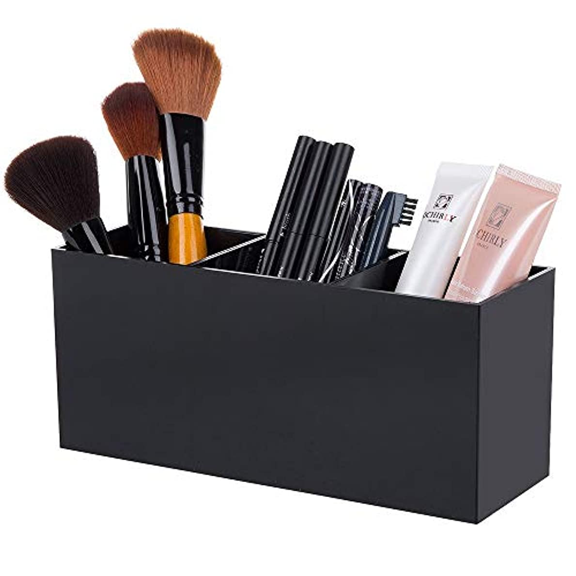 アベニューフォーマット一致するLUGUNU メイクブラシ 収納ケース 仕切り付き 化粧筆収納ボックス アクリルケース メイク道具 小物収納 ドレッサーの引き出しにも (ブラック)