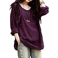 JSYAU Womens Loose Fit Long Sleeve Large Size Crewneck Linen Top T-Shirts