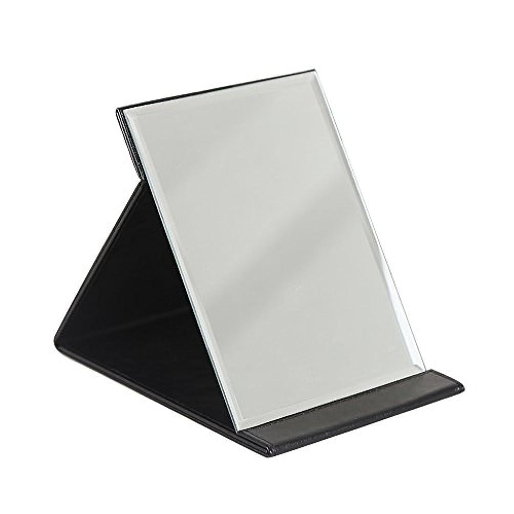 マーティフィールディングマトリックスいじめっ子化粧鏡 スタンドミラー 折りたたみ式 角度調整自由自在 角型コンパクトミラー 上質PUレザー使用 (ブラック, L:25x18cm)