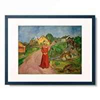エドヴァルド・ムンク Edvard Munch 「Frau in rotem Kleid (Strasse in AsgArdstrand) 」 額装アート作品