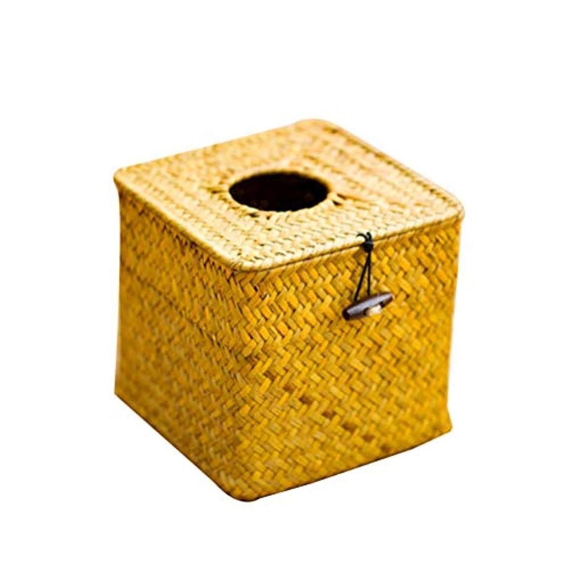 動くラベ勤勉Vosarea ホテルバスルームデスク用ペーパーティッシュナプキン手織りシーグラスボックスホルダーカバー(ブラック+最小販売5pcs)イエロー