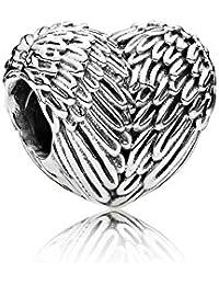 PANDORA Charm Angel Wing Detail Heart Shape Silver Beaded Bracelet Women's Wedding Gift