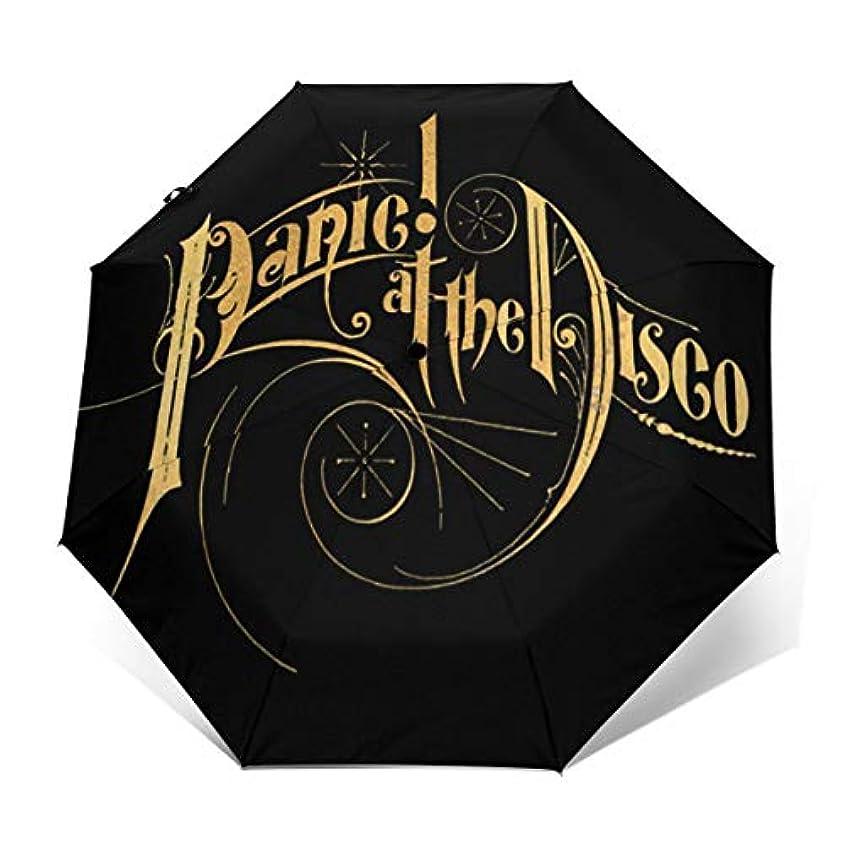 ダウンタウン複数サンダーPanic At The Synth Disco 折り返日傘すパラソル紫外線対策雨傘 実用 晴天または雨天両用堅牢防風旅行 ビジネス 個性的な人気UPF 50+傘は男性と女性の子供に似合います