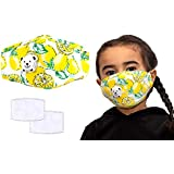 Anti Pollution Child's Masks, Reusable Kids Colourful Face Masks, Comes With Replaceable Filters and Respiratory Valve, Activated Carbon Filter Travel Outdoor Cycling Ski Warm Face Mask for Home, Comes in Bright Beautiful Colours. (1x Yellow Fruit Mask & 2x Filters)