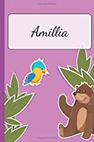 Amillia: Personalized Name Notebook for Girls | Custemized with 110 Dot Grid Pages | A custom Journal as a Gift for your Daughter or Wife | Perfect as School Supplies or as a Christmas or Birthday Present | Cute Girl Diary