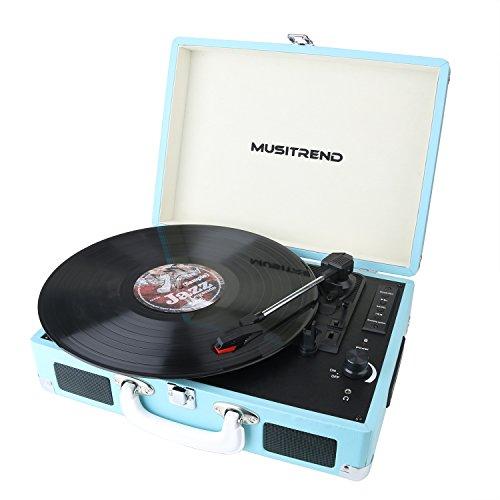 Musitrend レコードプレーヤー スーツケース型 スピーカー USB/SDレコーダ内蔵 ヘッドホン端子 RCA音声出力端子付き ブルー