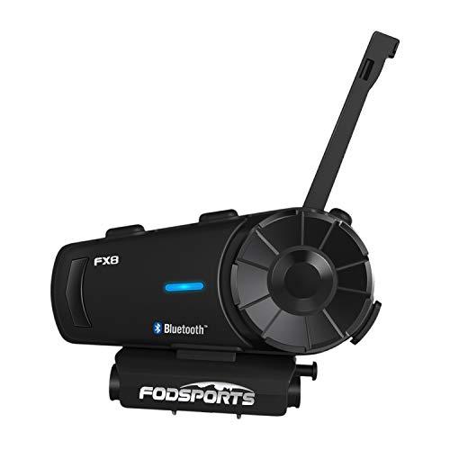 FODSPORTS バイク インカム FX8 最大8人同時通話 FMラジオ付きインタコーム bluetooth HIFI高音質 防水 インカムバイク 無線機バイク いんかむ 2種類マイク 連続20時間通話 日本語音声案内 技適マーク認定済み