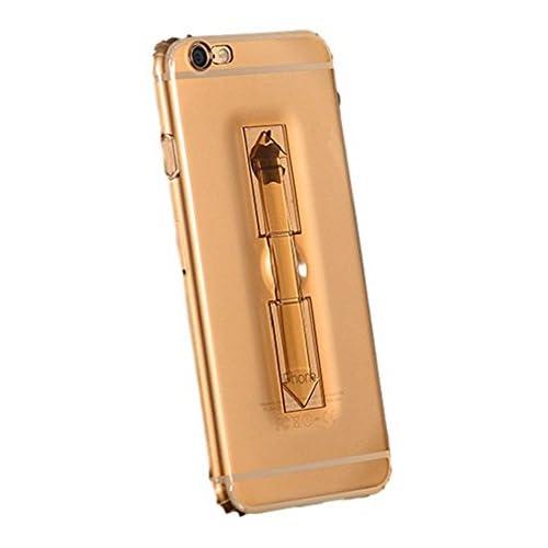 Youchan(ヨウチャン) アイフォン ケース クリア 透明 スタンド バンカーリング iPhone6 iPhone6s iPhone6Plus iPhone6sPlus 携帯ケース きれいめ 耐衝撃 360度 薄型 カバー スマホ 携帯電話 グッズ 小物 (iPhone6/6S, クリア(ゴールド))