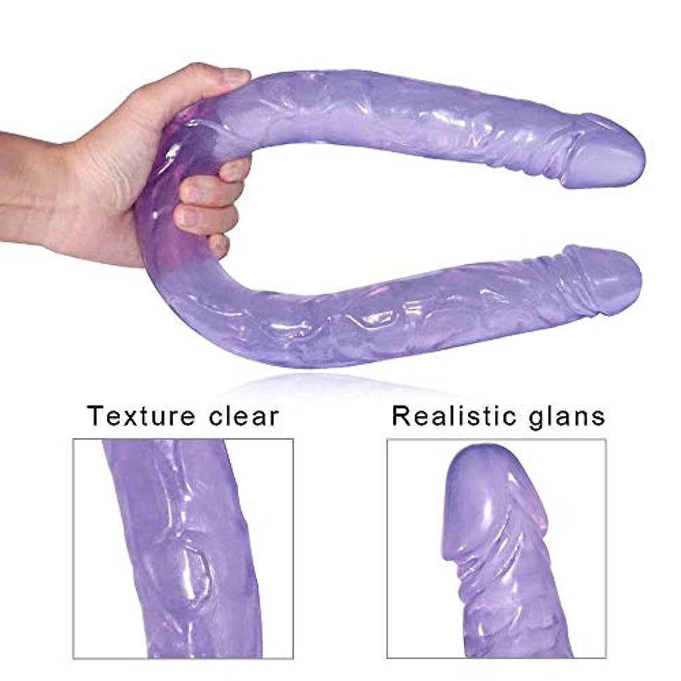 アッパー人形野ウサギペニス 21.65インチの長い両端は女性の健康材料のための女性の個人的な防水マッサージの杖に向かいました マッサージャー