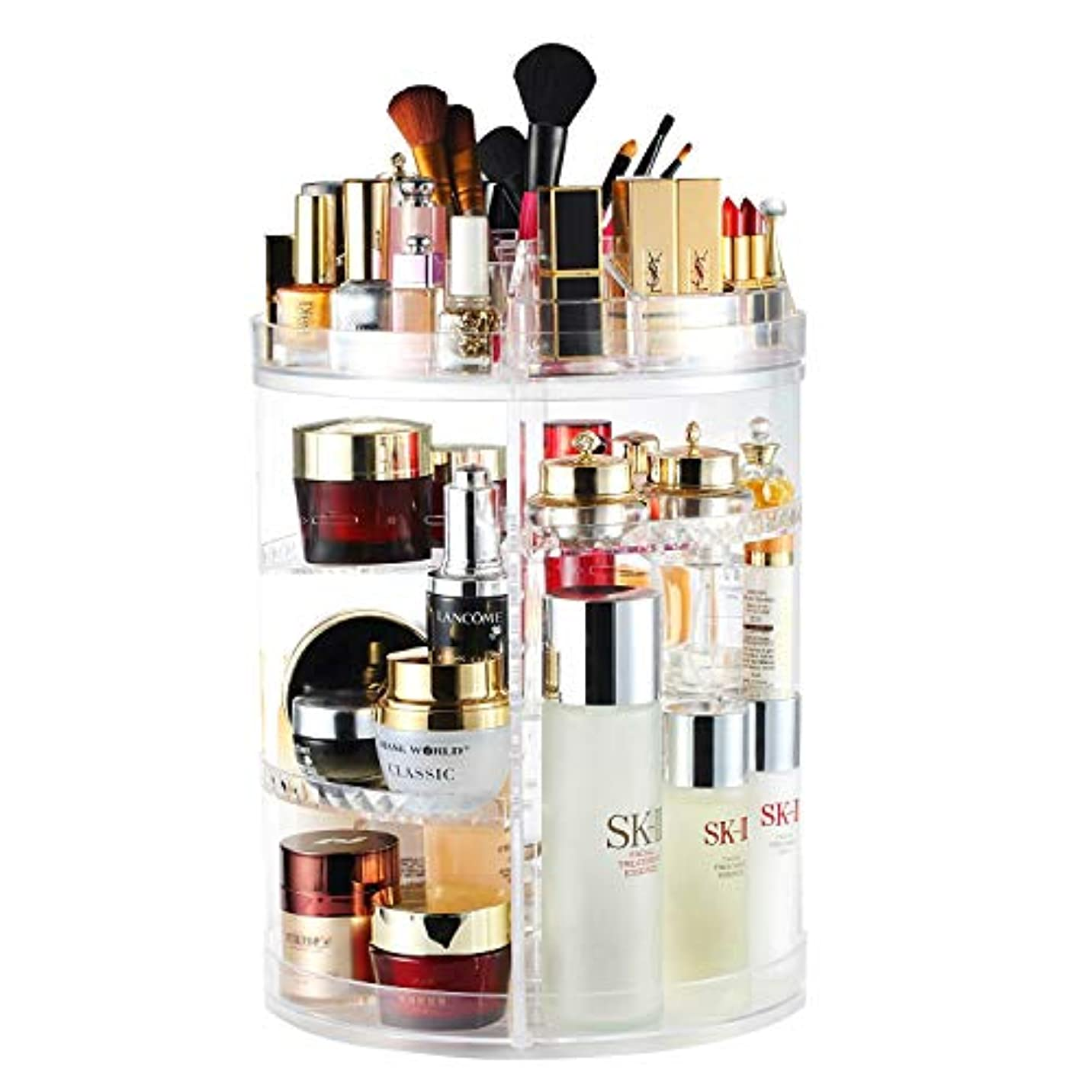 絶えず固める接続された化粧品収納ボックス 大容量 AMEITECH 360度回転 コスメ収納ボックス 引き出し小物/化粧品入れ コスメ収納スタンド レディース メイクケース 透明