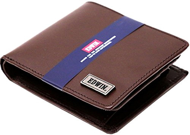 (エドウィン) EDWIN 財布 メンズ 二つ折り 本革 3color Free ダークブラウン