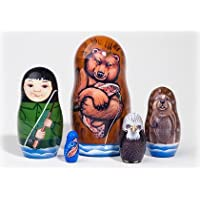 Fishing Adventure Russian Nesting Doll 5pc./4 by Golden Cockerel [並行輸入品]