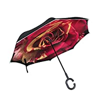 逆転傘 逆さ傘 逆折り式傘 自立傘 長傘 手離れC型手元 耐風 撥水加工 晴雨兼用 ビジネス用 車用 UVカット遮光遮熱 傘ケース付属 124センチ バラ