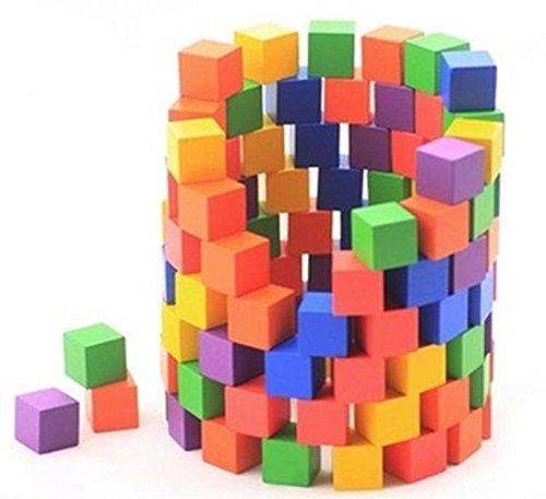 木製 積み木 ブロック 100個 セット 知育 玩具 おもちゃ (カラー)