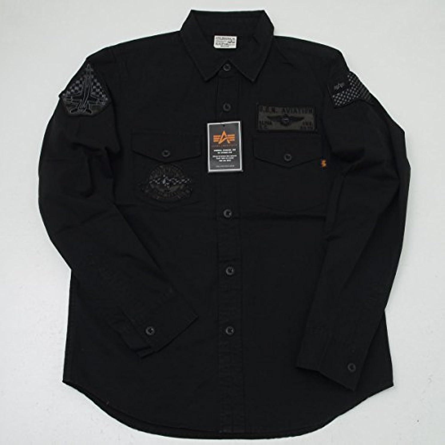 または別のまだらALPHA アルファ TS5041 UNI.PATCH ワッペン 長袖シャツ ブラック アーミーグリーン (M, 001 ブラック)