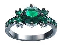 Xiang Ru 指輪 リング 婚約指輪 レディース オシャレ 華奢 ファッション ジルコニア シルバー+グリーン約16号