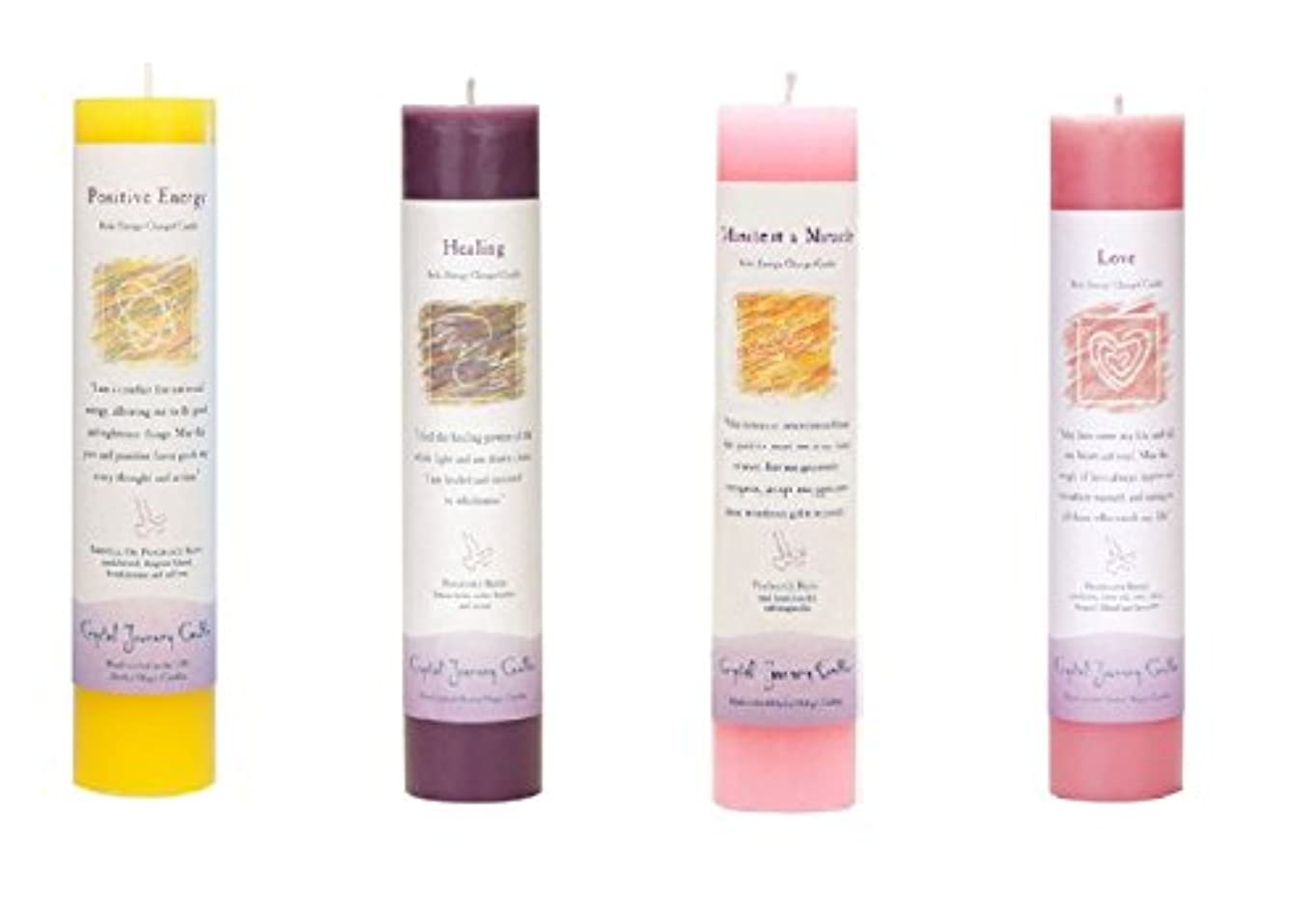 (Positive Energy, Healing, Manifest a Miracle, Love) - Crystal Journey Reiki Charged Herbal Magic Pillar Candle...