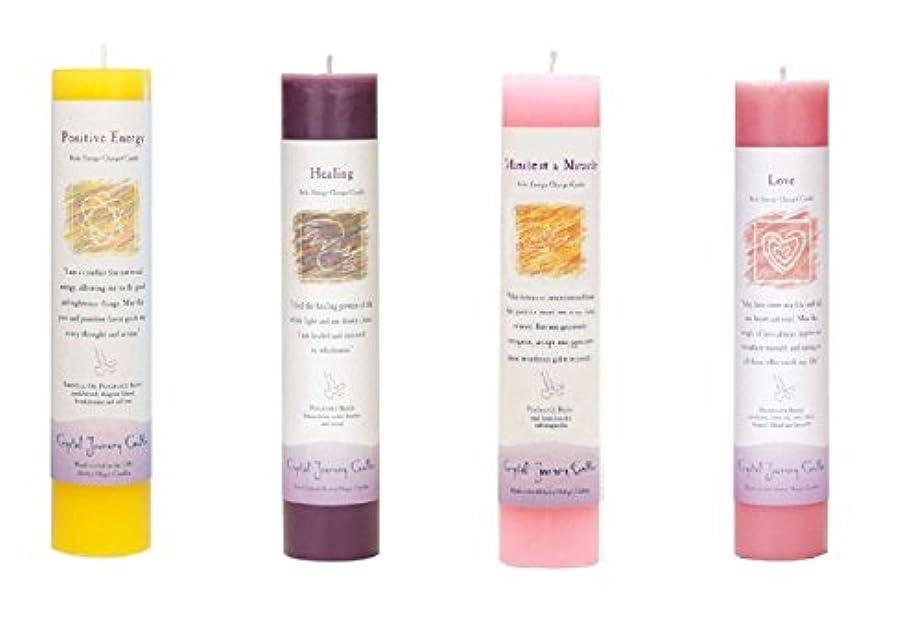 ギャップ魅力つぶやき(Positive Energy, Healing, Manifest a Miracle, Love) - Crystal Journey Reiki Charged Herbal Magic Pillar Candle...