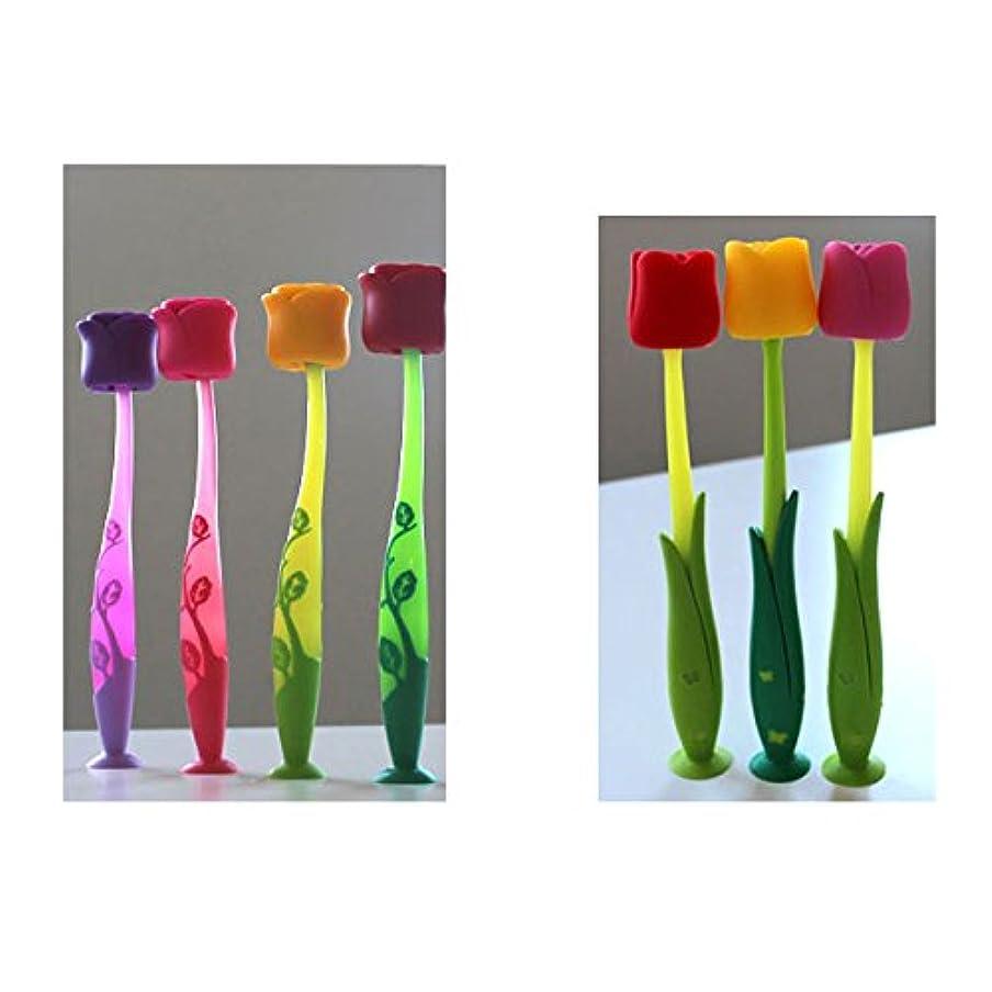 四屋内で効率フローレス 【歯ブラシ】【ローズ&チューリップ 7色(7本)アソートセット】ギフトにぴったり!【フローレス】Flores