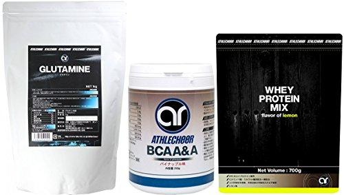 マッスルボディ 必須サプリメント3種セット アスリチア BCAA&A 250g + アスリチア グルタミンパウダー 1kg + アスリチア ホエイプロテイン700g (ビタミン11種とミネラル4種を配合!) レモン味