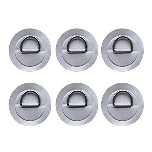 Perfeclan 6個 ステンレス鋼 DリングPVCパッチ 長持ち 316ステンレス鋼 Dリング パッド パッチ PVC 全4色