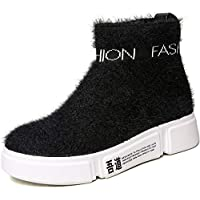 Women's Boots New 2019 Deck Shoes Stretch Knit Running Shoes High-Top Casual Shoes Fashion Sneakers Platform Shoes,Black,38