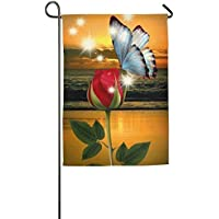DFGTLY Fashion Personalized Garden Flag,Red Rose With Butterfly Garden Flag-12