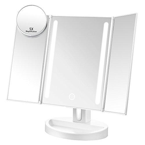 Jerrybox 三面鏡 卓上 鏡 ミラー 化粧鏡 LEDミラー 5倍拡大鏡付き 明るさ調節可能 角度調整対応 BM-1631