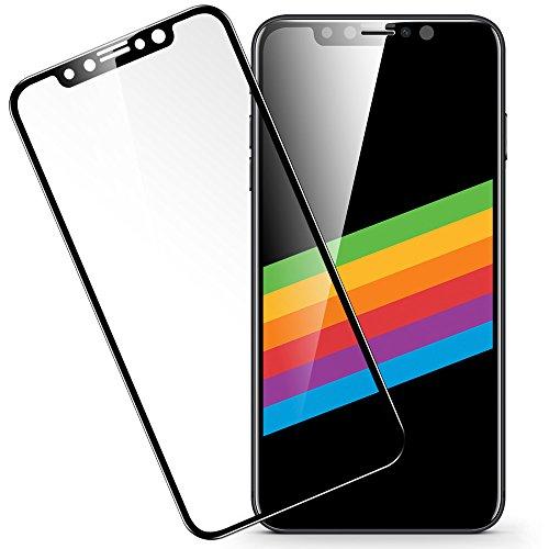 ESR iPhone X ガラスフィルム フルカバー 【旭硝子製5倍強化】 アイフォンX 5.8インチ 全面 強化ガラス 業界最高硬度9H / 高透過率 / 3D Touch / Face ID対応 / 曲面エッジ / 飛散指紋防止